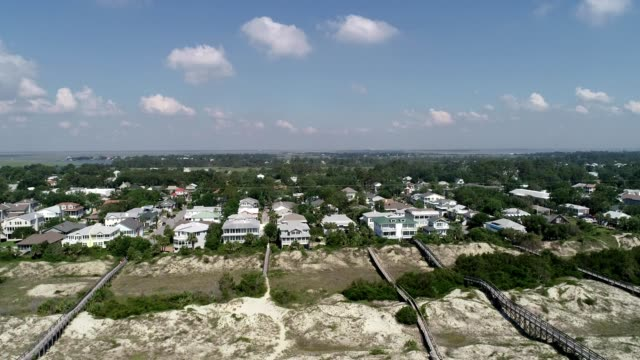 Aerial view of homes on the shore of Tybee Island Georgia