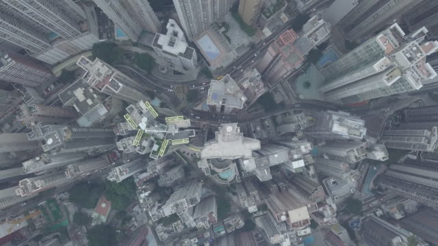 Aerial view of Hong Kong City at the peak Mountain