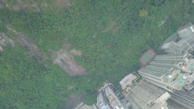 Aerial view of Hong Kong City at the peak Mountain