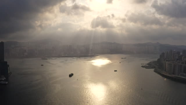 aerial view of hong kong downtown in china - slum stock videos & royalty-free footage