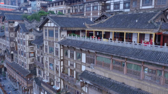 aerial view of hongyadong (stilt house against a cliff) and roof tile - stilt house stock videos & royalty-free footage