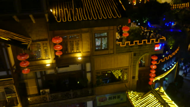Aerial view of Hongyadong (stilt house against a cliff) at night