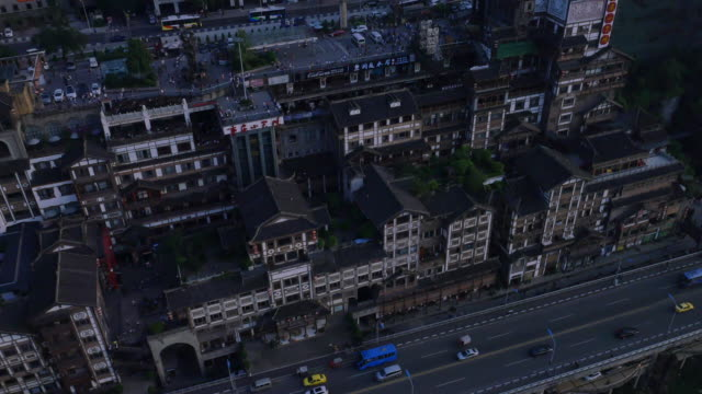 aerial view of hongyadong (stilt house against a cliff) - stilt house stock videos & royalty-free footage
