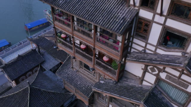Aerial view of Hongyadong (stilt house against a cliff)