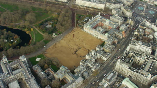 aerial view of horse guards parade in whitehall - military parade stock videos and b-roll footage