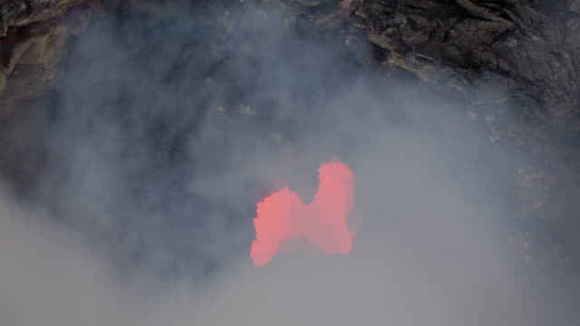 Aerial view of hot lava from Kilauea volcano at Hawaii Volcanoes National Park.