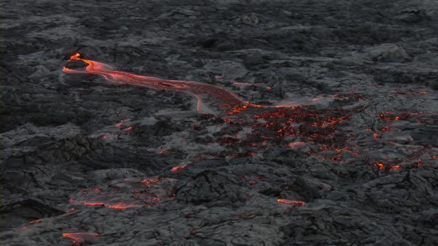 aerial view of hot lava in hawaii volcanoes national park. - big island hawaii islands stock videos & royalty-free footage