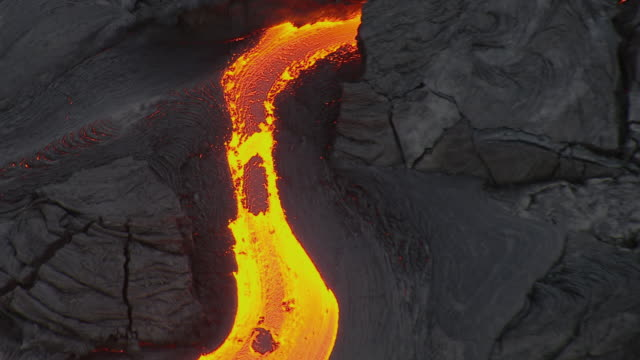 Aerial view of hot lava in Hawaii Volcanoes National Park.