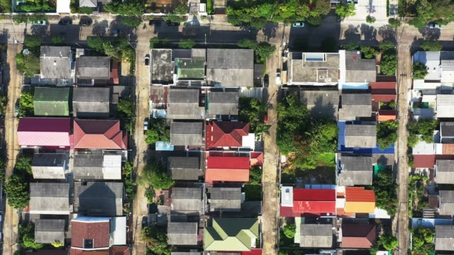 aerial view of houses. directly above view of residential area - house rental stock videos & royalty-free footage