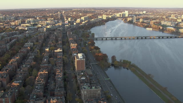 "aerial view of houses in back bay by charles river, boston, massachusetts, united states of america"" - back bay boston stock videos & royalty-free footage"
