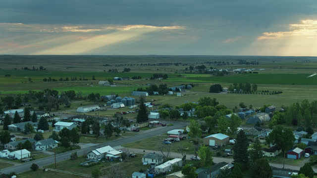 aerial view of houses in small town in nebraska - town stock videos & royalty-free footage