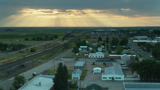 aerial view of houses in small town in nebraska - compartment stock videos & royalty-free footage