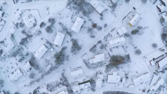 Aerial view of houses in winter