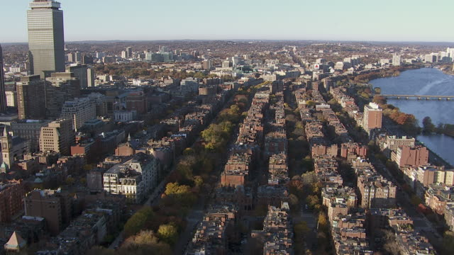 "aerial view of houses of back bay area near charles river, boston, massachusetts, united states of america"" - back bay boston stock videos & royalty-free footage"
