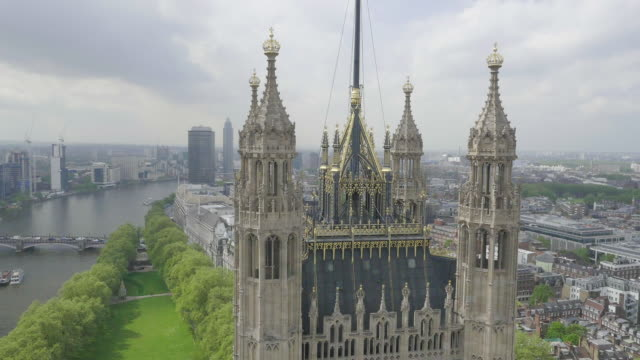 aerial view of houses of parliament - house of commons stock videos & royalty-free footage