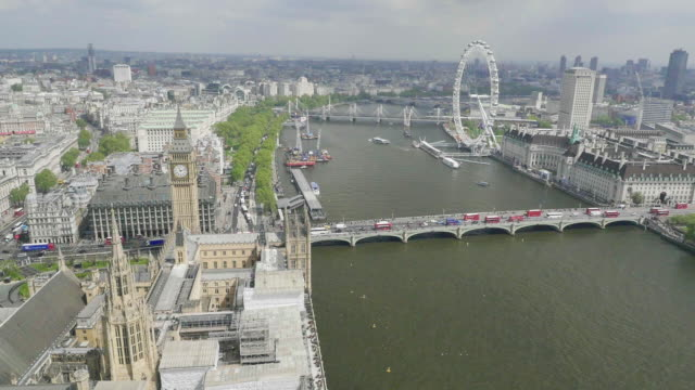 aerial view of houses of parliament - stadtansicht stock-videos und b-roll-filmmaterial