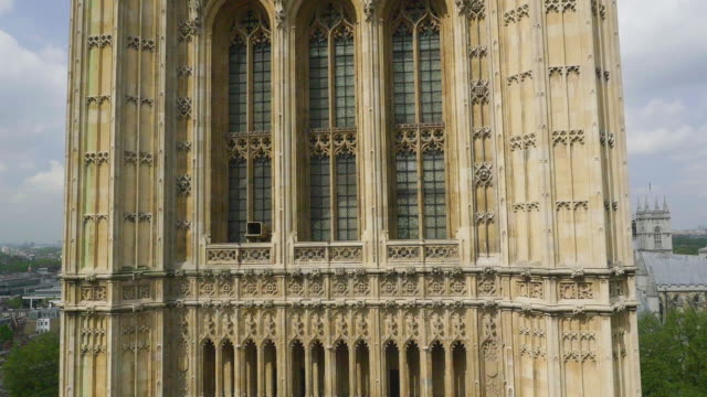 aerial view of houses of parliament - house of commons stock videos and b-roll footage