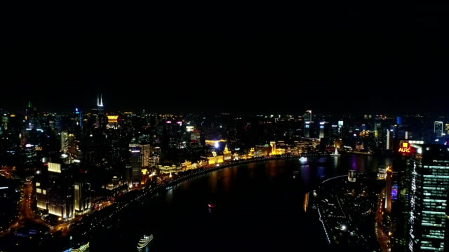 Aerial view of Huangpu river,left hand is the shanghai bund,right hand is Lujiazui financial district
