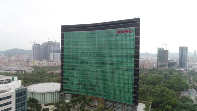 aerial view of huawei global headquarters in shenzhen - base stock videos & royalty-free footage