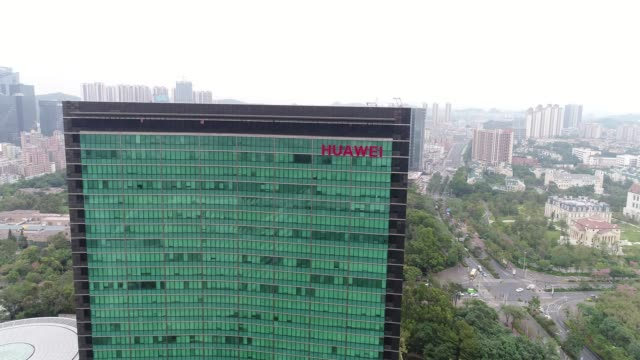 stockvideo's en b-roll-footage met aerial view of huawei global headquarters in shenzhen - hoofdkantoor