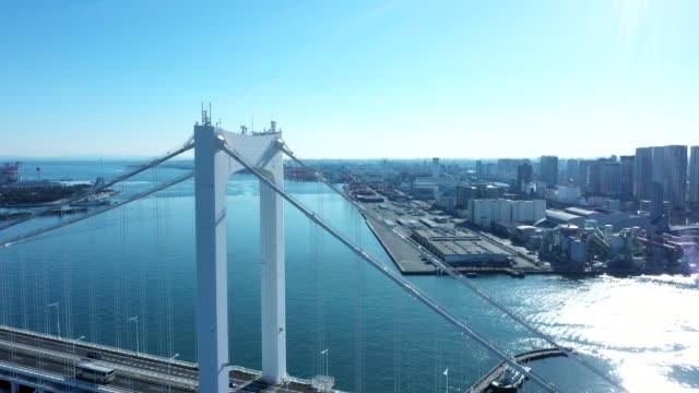 aerial view of huge suspension bridge - 橋点の映像素材/bロール