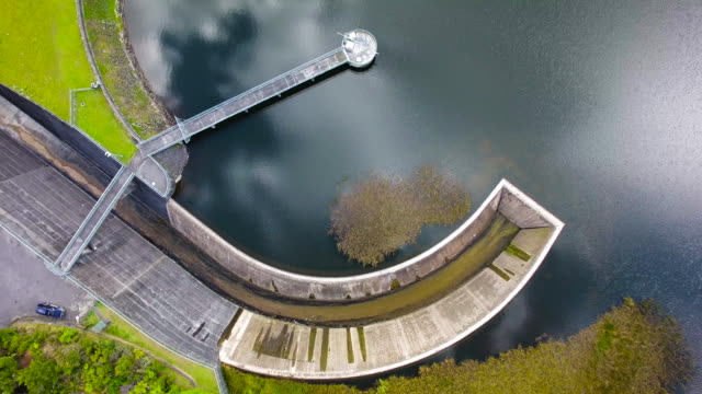 Aerial view of Huia Dam, West Auckland, New Zealand.