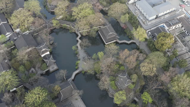 aerial view of humble administrator's garden, a classical chinese garden in suzhou, china - mar stock videos & royalty-free footage