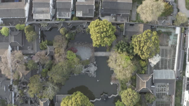 aerial view of humble administrator's garden, a classical chinese garden in suzhou, china - mar bildbanksvideor och videomaterial från bakom kulisserna