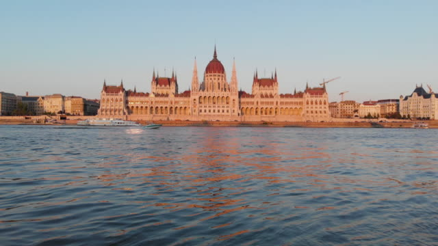 aerial view of hungarian parliament at golden hour - traditionally hungarian stock videos & royalty-free footage