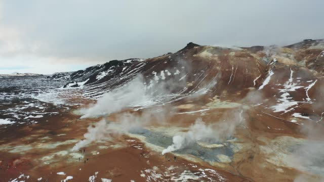 Aerial view of Hverir  in Iceland  in winter