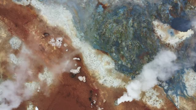 aerial view of hverir  in iceland  in winter - geyser stock videos & royalty-free footage