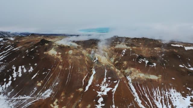 aerial view of hverir  in iceland  in winter - blowhole stock videos & royalty-free footage