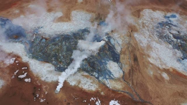 aerial view of hverir  in iceland  in winter - geyser stock videos & royalty-free footage
