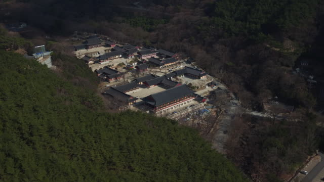 Aerial view of Hwaomsa Temple (Famous temple in Korea)