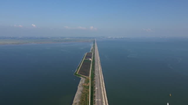 Aerial view of Hwaong Tide Embankment