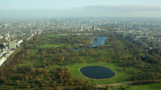 aerial view of hyde park london uk - kensington und chelsea stock-videos und b-roll-filmmaterial
