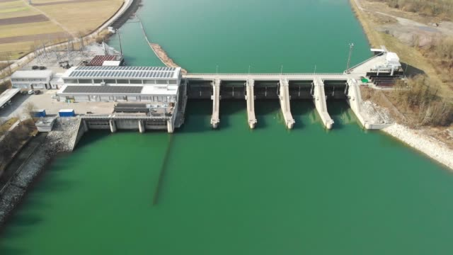 aerial view of hydro electric power plant - hydroelectric power stock videos & royalty-free footage
