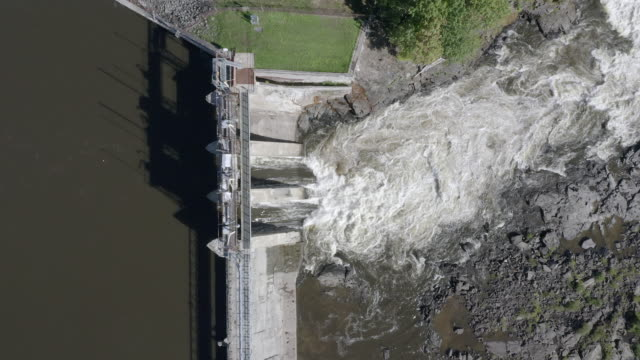 aerial view of hydro electricity dam - renewable energy stock videos & royalty-free footage