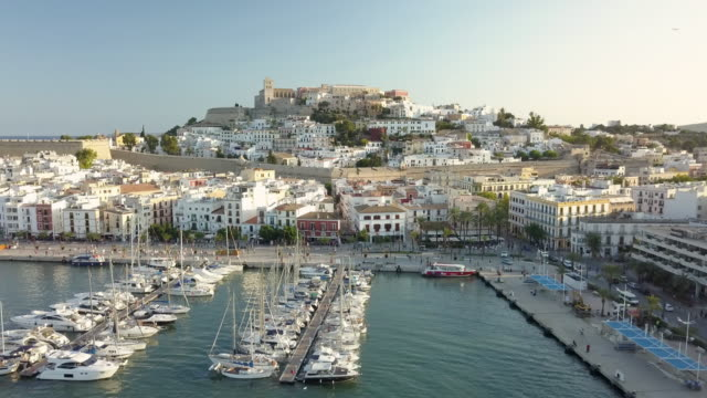 ha, ws aerial view of ibiza town / ibiza, spain - balearics stock videos & royalty-free footage