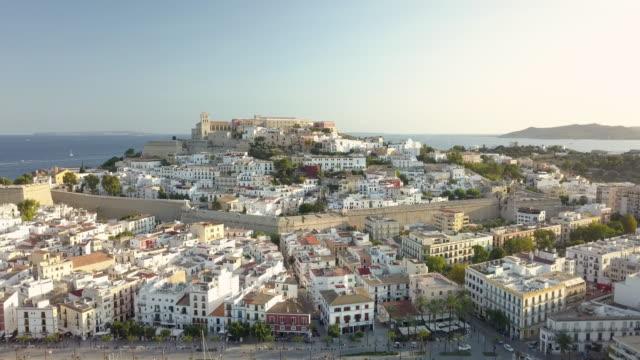 ha, ws aerial view of ibiza town / ibiza, spain - イビサ島点の映像素材/bロール