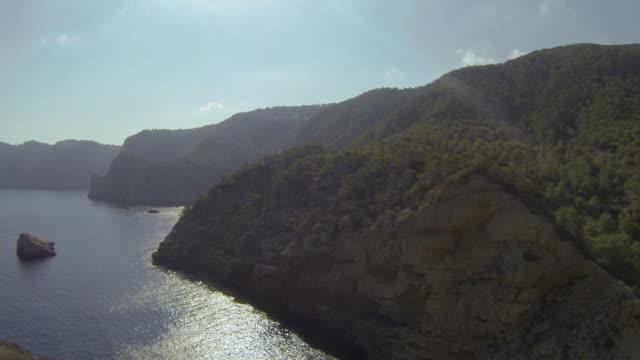 aerial view of ibiza's coastline, spain - rocky coastline stock videos & royalty-free footage