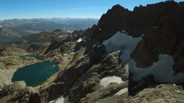 aerial view of iceberg lake and the minarets in the ansel adams wilderness area, sierra nevada, northern california. - wilderness area stock videos & royalty-free footage