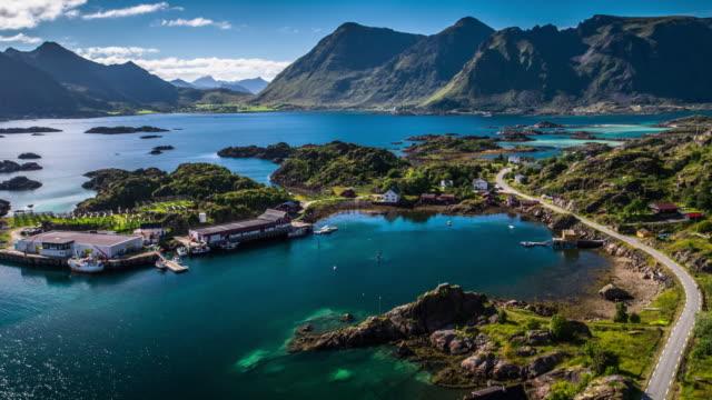 aerial view of idyllic lofoten islands coastline, norway - coastline stock videos & royalty-free footage