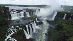 Aerial view of Iguaçu's Waterfalls, a tourism point of Foz do Iguaçu, Brazil and of Misiones, Argentina. Great landscape.