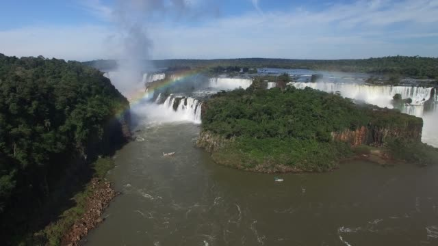 aerial view of iguazu falls, on the border of brazil and argentina. - brazilian culture stock videos & royalty-free footage