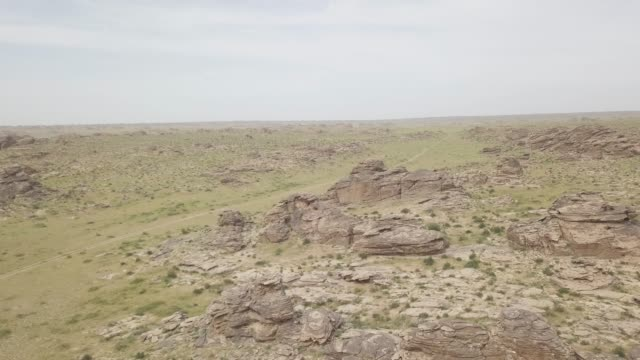 aerial view of ikh nart nature reserve in mongolia, central asia, asia - mongolei stock-videos und b-roll-filmmaterial