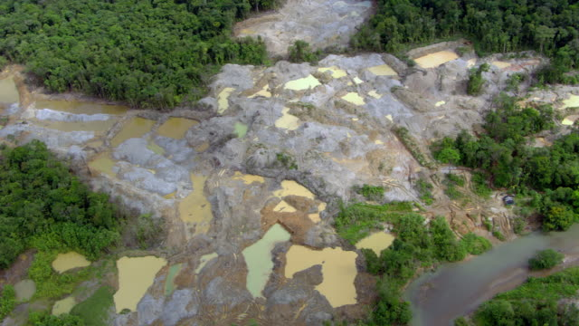 aerial view of illegal gold mine, colombia - gold mine stock videos and b-roll footage