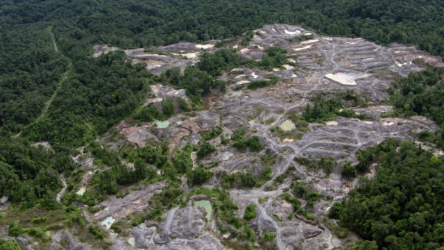 vídeos de stock, filmes e b-roll de aerial view of illegal gold mine surrounded by trees, colombia - américa do sul