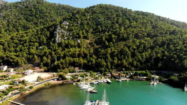aerial view of in orhaniye bay - marmaris stock videos & royalty-free footage