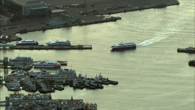 aerial view of incheon port with docking tourboat - tourboat stock videos and b-roll footage